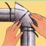 3、用塑料扣将弯头部分的中间临时固定。