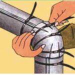 4、使切开部分与曲面对齐重叠,用塑料扣临时固定。